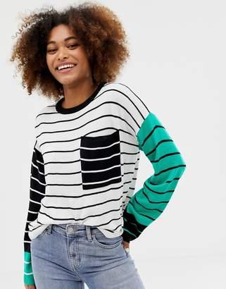 Brave Soul jenga sweater in stripe mix