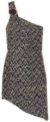 Ophelia Haney One-shoulder Fil Coupé Chiffon Mini Dress - Navy