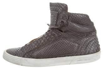 Jimmy Choo Snakeskin High-Top Sneakers