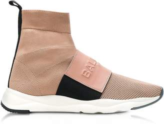 Balmain Powder Nylon and Leather Cameron Running Women's Sneakers