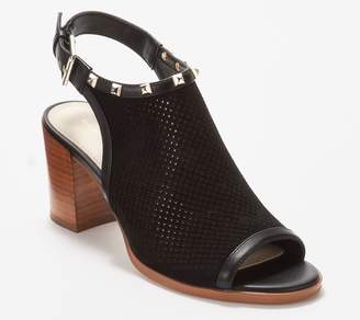 Marc Fisher Suede Perforated Heeled Sandals- Parso