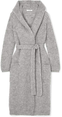 Max Mara Hooded Belted Mohair-blend Cardigan - Gray