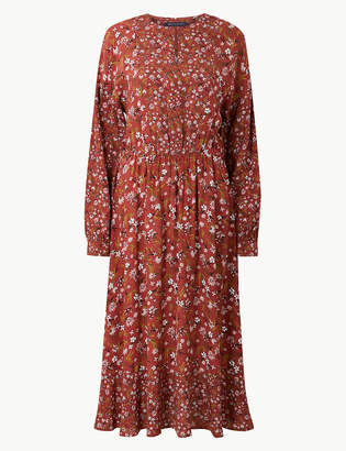 Marks and Spencer Floral Print Midi Waisted Dress