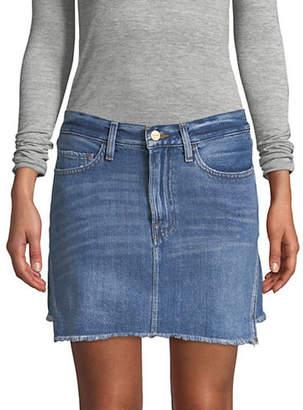 Frame Frayed Denim Mini Skirt