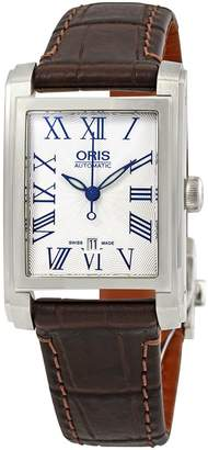 Oris Rectangular Date Silver Dial Brown Leather Ladies Watch
