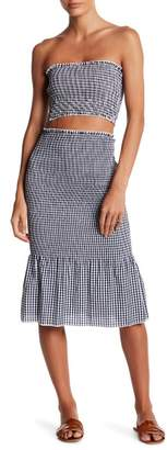 L'Atiste Gingham Print Smocked Crop Top & Skirt 2-Piece Set