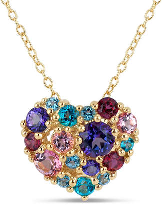 Swarovski FINE JEWELRY 18K Gold over Silver Multi Color Topaz Heart Cluster Pendant Necklace featuring Genuine Gemstones