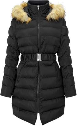 Next Womens Boohoo Belted Satin Quilted Coat