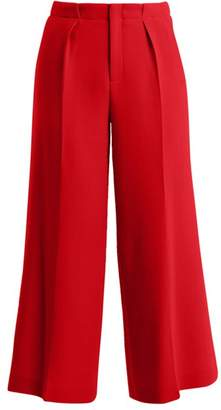 Roland Mouret Broadgate High Rise Wide Leg Wool Crepe Trousers - Womens - Red