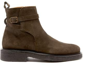 Ami - Buckle Strap Suede Boots - Mens - Brown