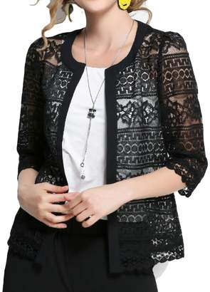 Frieed Women s Shrug Boleros Open Front Fashion Sheer Lace Long Sleeve  Cardigan 2XL b372498cf