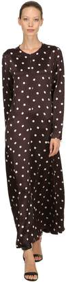 Ganni Cameron Polka Dots Satin Viscose Dress