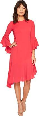 Maggy London Women's Crepe Novelty Dress with Asymmetrical Hem and Ruffle Detail