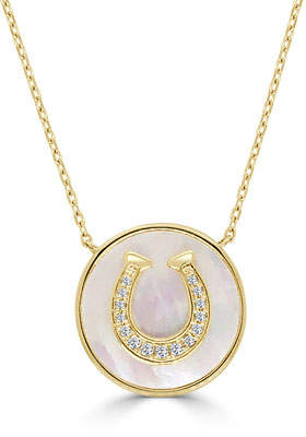 Frederic Sage 18k Diamond Horseshoe Mother-of-Pearl Necklace