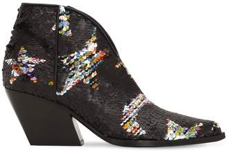 Elena Iachi 70MM STARS SEQUINED LEATHER BOOTS