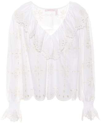 See by Chloe Embroidered cotton top