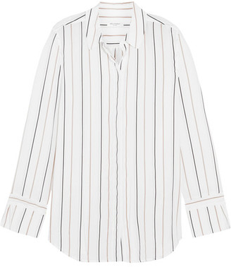 Equipment - Holly Striped Washed-silk Shirt - White $270 thestylecure.com