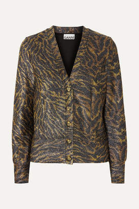 d2949bd4 Ganni Tiger-print Lurex Cardigan - Brown