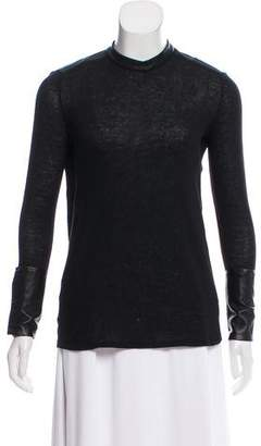 Helmut Lang Leather Accented Long Sleeve Top