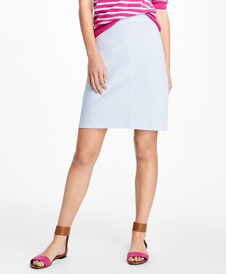 Brooks Brothers Striped Seersucker A-Line Skirt