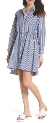 French Connection Tatus Stripe Drawstring Cotton Shirtdress