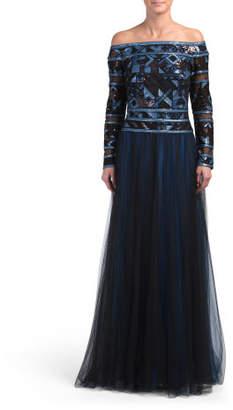 Off The Shoulder Sequin Top Gown