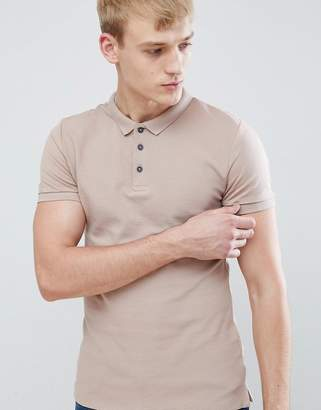 New Look Muscle Fit Polo Shirt In Dusty Pink
