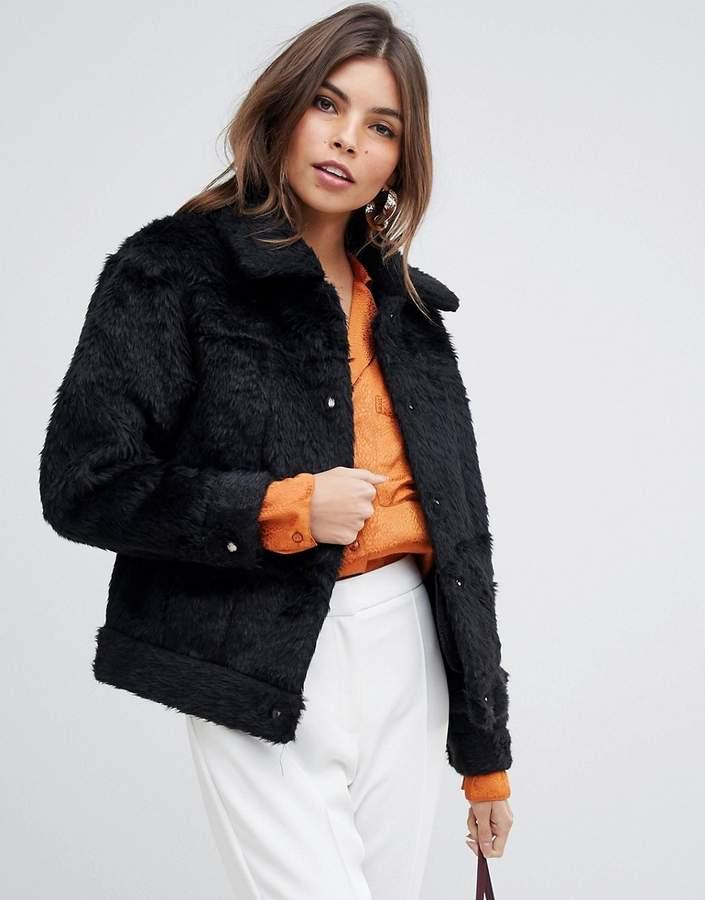 Jayley Teddy Wool Blend Trucker Jacket