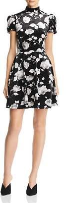 Aqua Floral Velvet Puff-Sleeve Skater Dress - 100% Exclusive