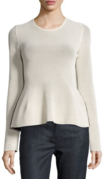 Calvin KleinCalvin Klein Honeycomb Knit Peplum Top, Cream