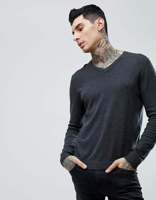 Asos Cotton V-Neck Sweater In Charcoal