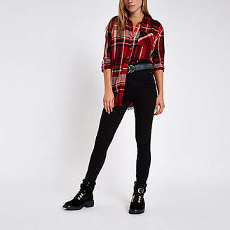 River Island Womens Red check oversized shirt