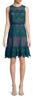 Badgley Mischka Belle Deanndra Embroidered A-Line Dress