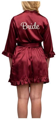 Wedding Prep Gals Plus Size 'Bride' Embroidered Ruffled Robe, Online Only