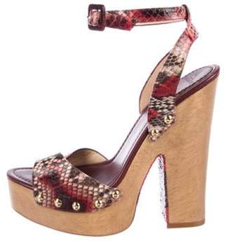 Alexandre Birman Snakeskin Platform Sandals w/ Tags Red Snakeskin Platform Sandals w/ Tags