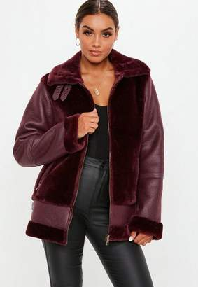 Missguided Tall Wine Faux Fur Ultimate Aviator Jacket