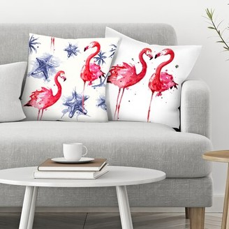 Flamingos East Urban Home Sam Nagel 2 Piece Beach Throw Pillow Insert Set East Urban Home