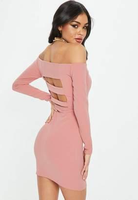 Missguided Rose Bardot Strap Back Mini Dress