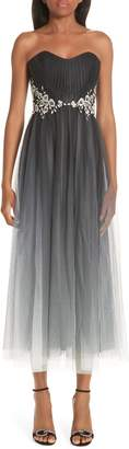 Marchesa Strapless Ombre Tulle Tea Length Dress