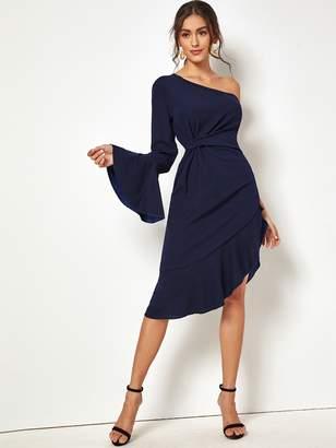 Shein One Shoulder Flounce Sleeve Asymmetrical Hem Dress