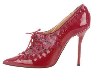 Oscar de la Renta Patent Leather Snakeskin-Trimmed Booties