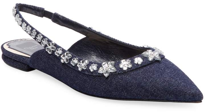Dior Women's Embellished Denim Flats