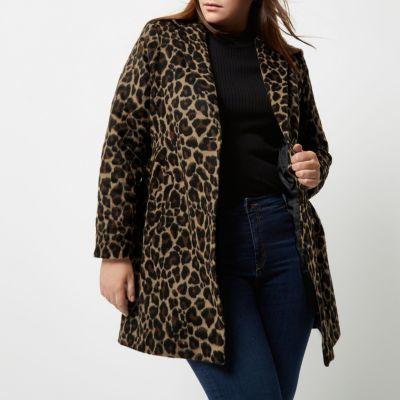 River IslandRiver Island Womens Plus leopard print overcoat