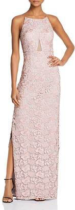 Aidan Mattox Mesh-Inset Lace Gown
