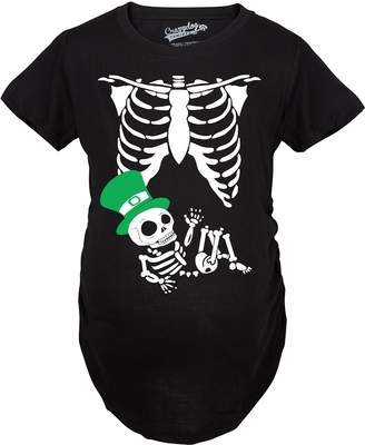 Crazy Dog T-shirts Crazy Dog Tshirts Maternity St. Patrick's Day Baby Skeleton Funny Pregnancy Announcement T shirt -M