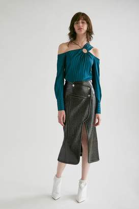 Yigal Azrouel Laminated Tweed Wrap Skirt