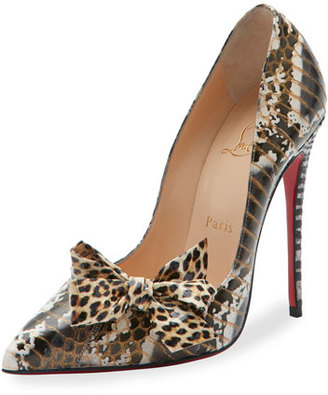 Christian Louboutin Madame Menodo Snakeskin 100mm Red Sole Pump, Black/Gold $1,195 thestylecure.com