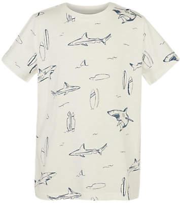 Boys' Shark Print T-Shirt, Ecru