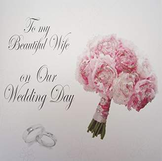 DAY Birger et Mikkelsen WHITE COTTON CARDS To My Beautiful Wife On Our Weddng Day, Wife Bouquet Handmade Wedding Card