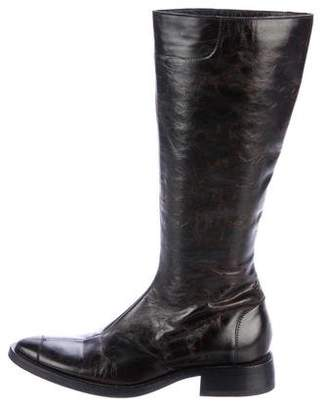 CNC Costume National Leather Pointed-Toe Knee-High Boots